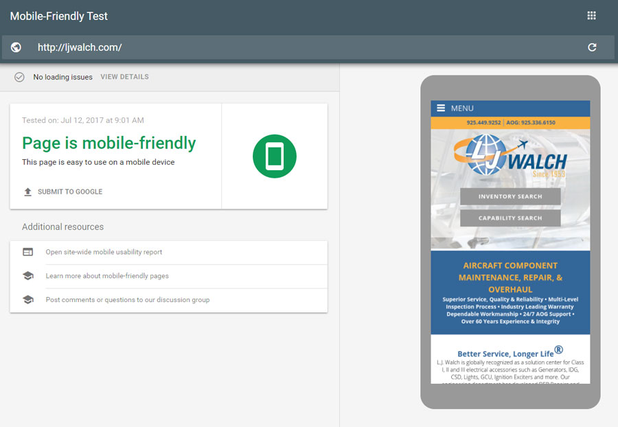 Test your site with Google mobile search rules